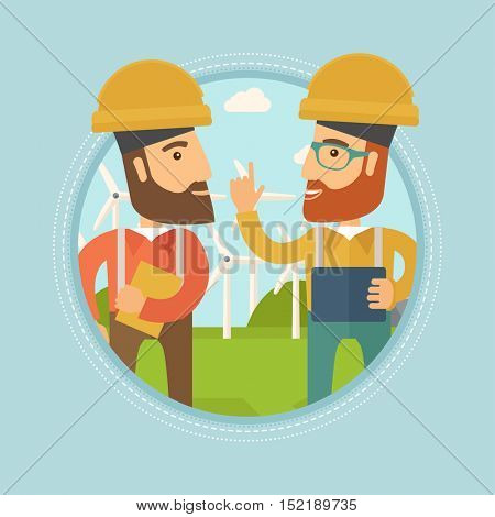 Two hipster workers talking on background of wind turbines. Caucasian workers of wind farm in helmets discussing working affairs. Vector flat design illustration in the circle isolated on background.