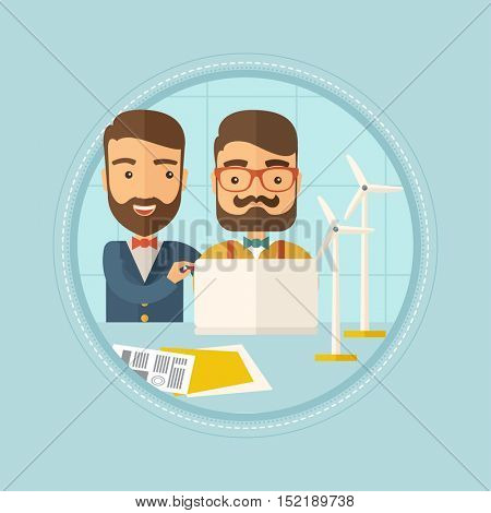 Hipster caucasian workers of wind farm at work. Engineers of wind farm working on laptop. Men working with model wind turbines. Vector flat design illustration in the circle isolated on background.
