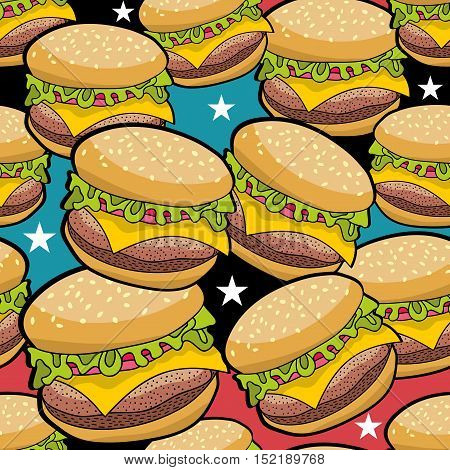 Endless pattern with fast food. Vector seamless texture.