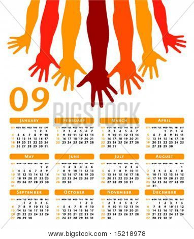 Giving hands 2009 vector calendar.