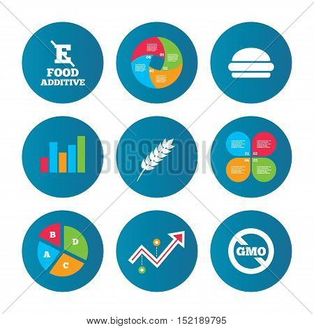 Business pie chart. Growth curve. Presentation buttons. Food additive icon. Hamburger fast food sign. Gluten free and No GMO symbols. Without E acid stabilizers. Data analysis. Vector