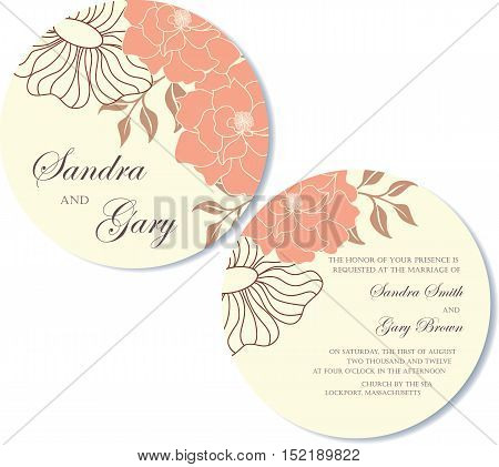 Vintage round, double sided floral wedding invitation