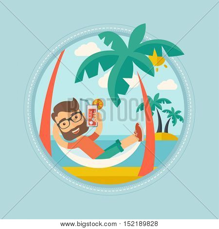 Hipster caucasian man with beard chilling in hammock with a cocktail on the beach. Tourist drinking a cocktail on the beach. Vector flat design illustration in the circle isolated on background.