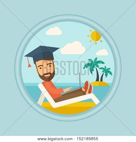 Hipster caucasian graduate with beard lying in chaise long. Graduate in graduation cap working on laptop. Graduate on a beach. Vector flat design illustration in the circle isolated on background.