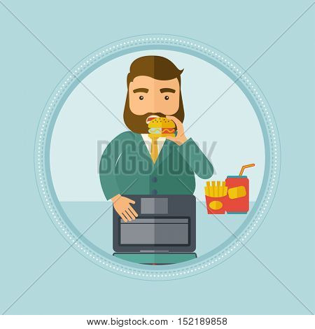 Caucasian hipster man working on laptop and eating hamburger. Fat businessman eating fast food at work. Man biting hamburger. Vector flat design illustration in the circle isolated on background.