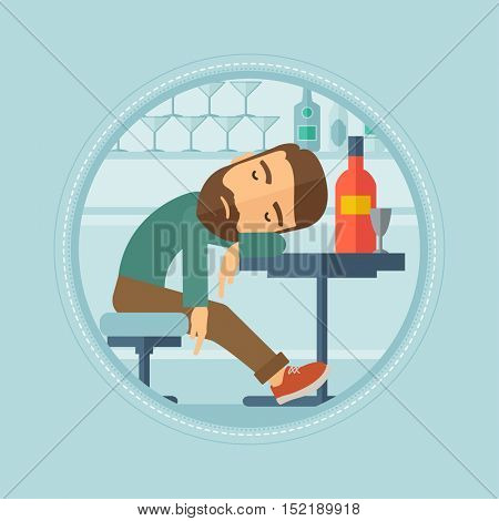 Caucasian hipster man deeply sleeping near bottle of wine and glass in bar. Drunk man sleeping in bar. Alcohol addiction concept. Vector flat design illustration in the circle isolated on background.