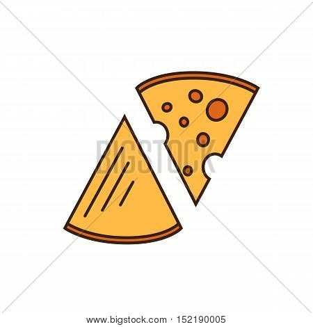 Dairy icon in line style design with two pieces of cheese, isolated vector illustration. Traditional and tasty products. Organic farming. Natural and healthy food symbol