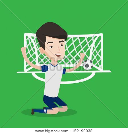 Caucasian soccer player celebrating scoring goal. Young football player kneeling with raised arms on the background of football gate with ball in it. Vector flat design illustration. Square layout.