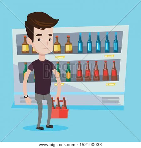 Young man standing in alcohol store with pack of beer on the background of refrigerator with bottles. Man standing at alcohol section in grocery store. Vector flat design illustration. Square layout.