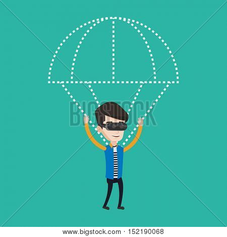 Young caucasian man wearing virtual reality glasses and flying with parachute. Excited man in vr headset having fun while flying in virtual reality. Vector flat design illustration. Square layout.