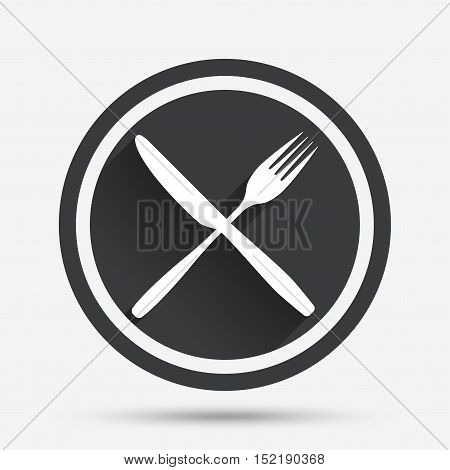 Eat sign icon. Cutlery symbol. Fork and knife crosswise. Circle flat button with shadow and border. Vector