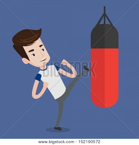 Smiling caucasian boxer man exercising with boxing bag. Kickbox fighter hitting heavy bag during training. Male boxer training with the punch bag. Vector flat design illustration. Square layout.