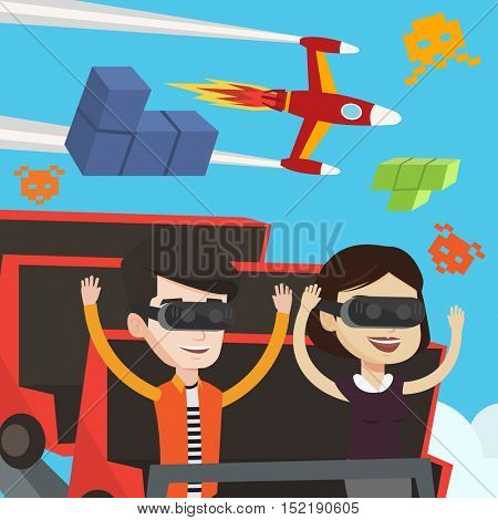 Couple in virtual reality headset riding on roller coaster. Excited young man and woman in virtual reality glasses having fun in virtual amusement park. Vector flat design illustration. Square layout.