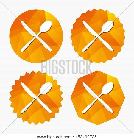 Eat sign icon. Cutlery symbol. Knife and spoon crosswise. Triangular low poly buttons with flat icon. Vector