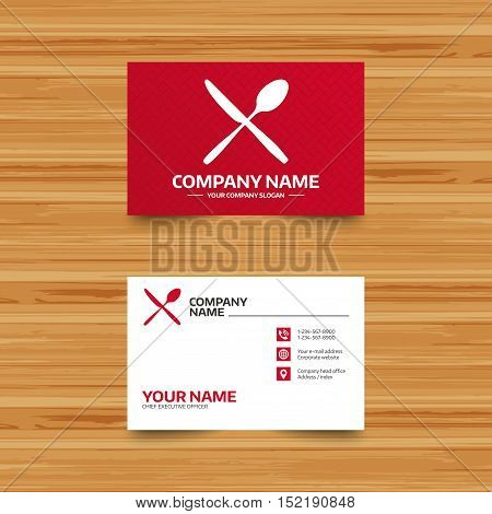 Business card template. Eat sign icon. Cutlery symbol. Knife and spoon crosswise. Phone, globe and pointer icons. Visiting card design. Vector