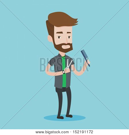 Full length of young hipster barber with beard holding comb and scissors in hands on a blue background. Professional hairdresser ready to do a haircut. Vector flat design illustration. Square layout.