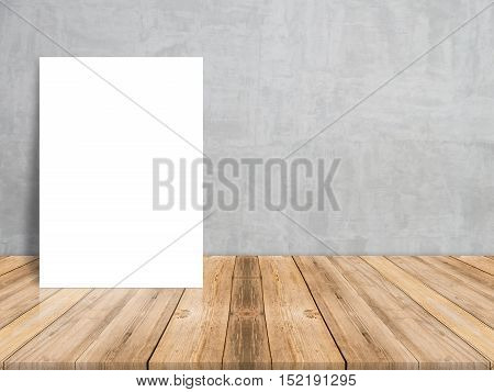 Blank white paper poster on plank wooden floor and concrete wall Template mock up for adding your contentleave side space for display of product