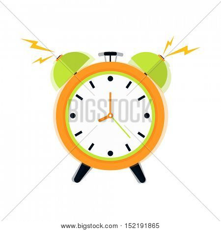 Alarm clock icon. Flat design style. Vector Illustration isolated on white background.