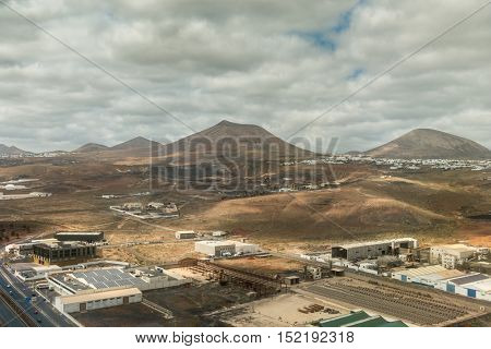industrial buildings in Lanzarote valley, Canary island, Spain, aerial photo