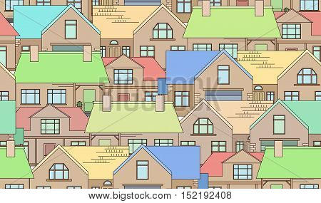 Seamless texture with country houses. Background for packaging postcards and your design