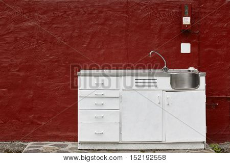 Pay per use outdoor camping kitchen cabinet sink and faucet