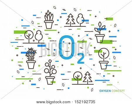 O2 oxygen linear vector illustration with house plants. Natural ecology ecological oxygen creative graphic concept. Natural eco oxygen process for science chemistry biology.