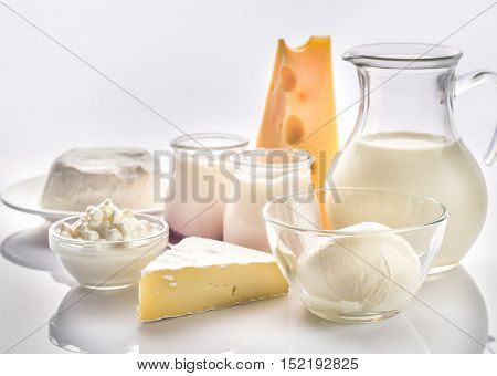 Assortment of dairy products on the whote background