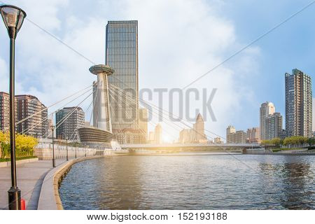 tianjin skyline and cityscape at daytime,china,asia.