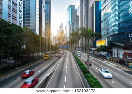 busy urban traffic of hong kong downtown district,china.