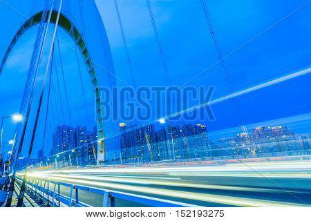 car light trails on steel bridge,china.