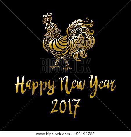 Golden Rooster On Black Background. Chinese The Year Of Golden Rooster 2017. Rooster Golden Silhouet