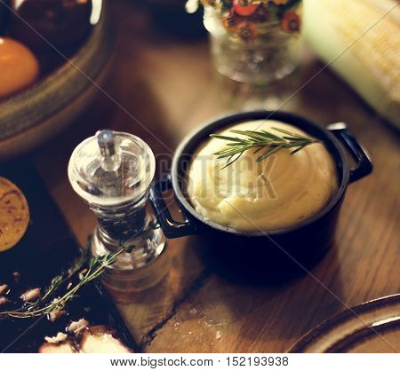 Mashed Potato Rosemary Pepper Thanksgiving Table Setting Concept