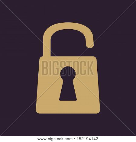 The open lock icon. Lock symbol. Flat Vector illustration
