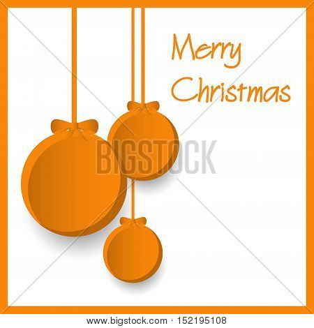 Three Orange Paper Christmas Decoration Baubles Hanging Eps10