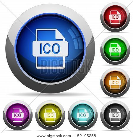Set of round glossy ICO file format buttons. Arranged layer structure.