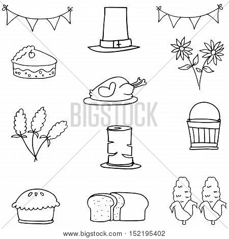 Doodle of hand draw thanksgiving set vector illustration