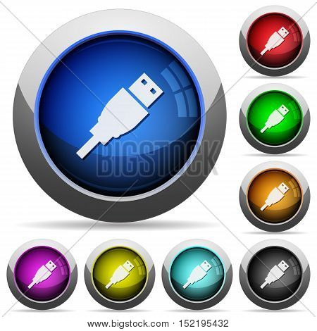 Set of round glossy USB plug buttons. Arranged layer structure.