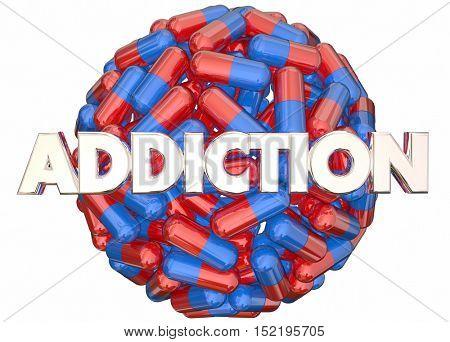 Addiction Pain Killers Prescription Medicine Abuse 3d Illustration