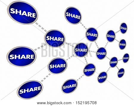 Share Spread Trade Communicate Message Chain 3d Illustration