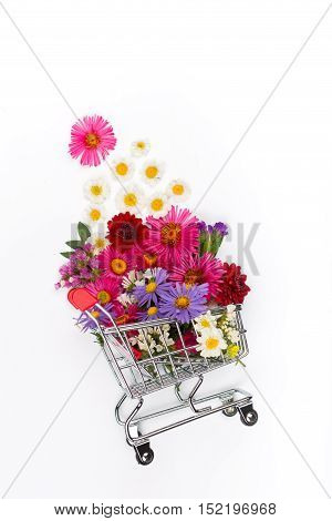 Shopping cart full of different wildflowers on white background. Flat lay top view