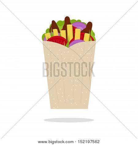 Gyros Pita Greek Fast Food Traditional Cuisine Flat Design Style. Vector illustration
