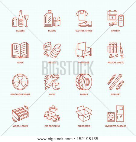 Modern vector thin line icons of waste sorting recycling. Garbage collection. Recyclable trash - paper glass plastic metal wood. Linear pictogram for poster brochure of recycling management.