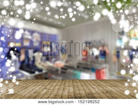 Shopping mall blur background shallow depth of focus. With the Christmas sale.