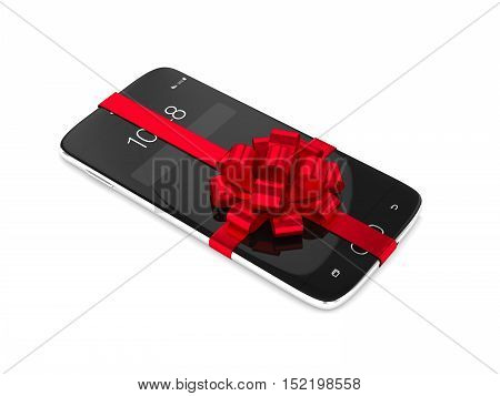 3D Rendering Of Smartphone With Bow Isolated Over White
