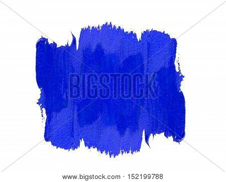Blue acrylic spot of vertical brushstrokes isolated on white background. Element for different design