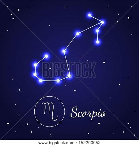 Scorpio Zodiac Sign Stars on the Cosmic Sky. Vector illustration