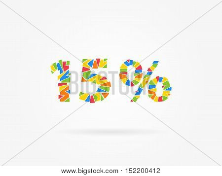 15 percent discount colorful vector illustration on grey background. 15 fifteen percent off discount creative promotion concept. Special offer isolated element for banner marketing.