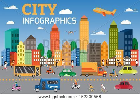 City infographics elements. Graphics detail of transportation and city traffic with people having activities in city. can be used for advertising board and workflow layout web design banner template. Vector illustration.