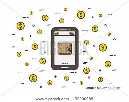 Mobile money wallet with golden coins vector linear illustration. Mobile phone cash money technology creative concept. Mobile personal finance wallet transfer graphic design.