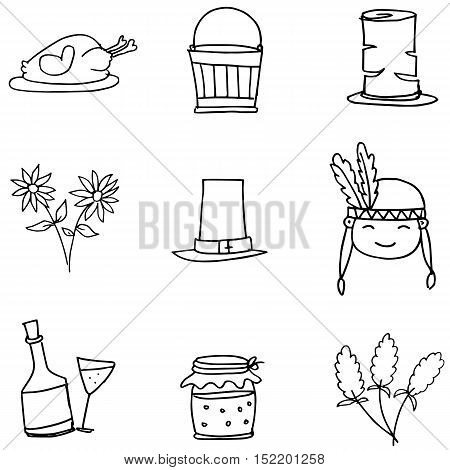 Doodle of objects for thanksgiving hand draw vector art
